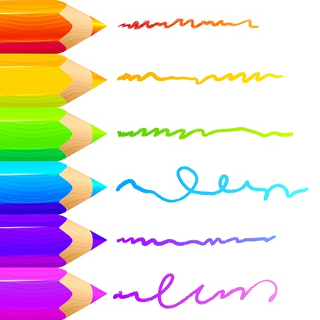 Colored pencils bright colorful set background Illustration