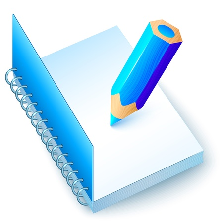 Blue vector notebook with colored pencil Vector