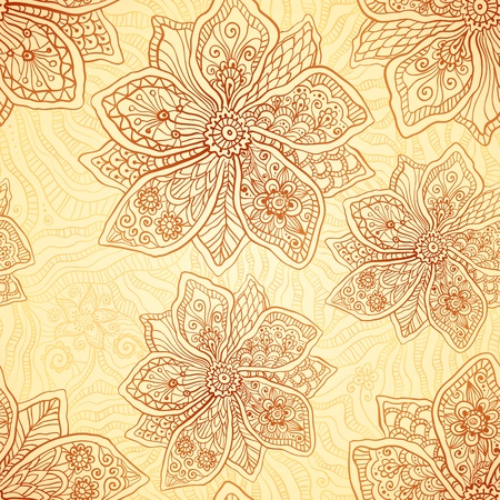 Henna colors ethnic style vector seamless pattern Vector