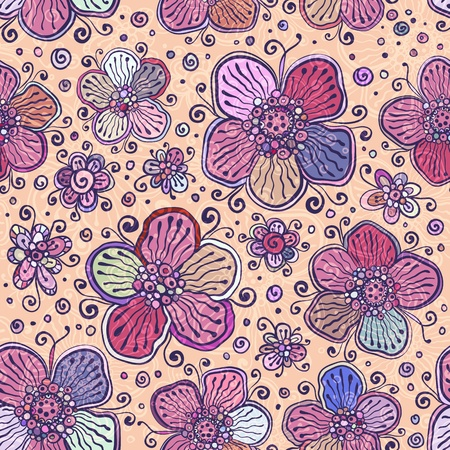 Vintage colors vector flowers seamless pattern Vector