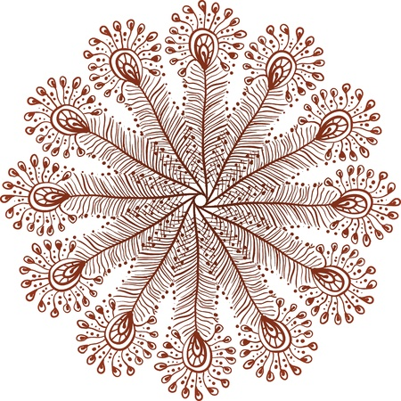 Henna colors vector doodle peacock feathers circle Vector