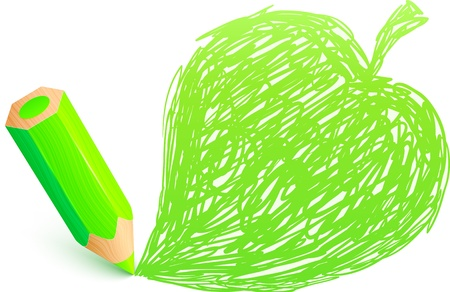 Green cartoon pencil with doodle leaf Vector