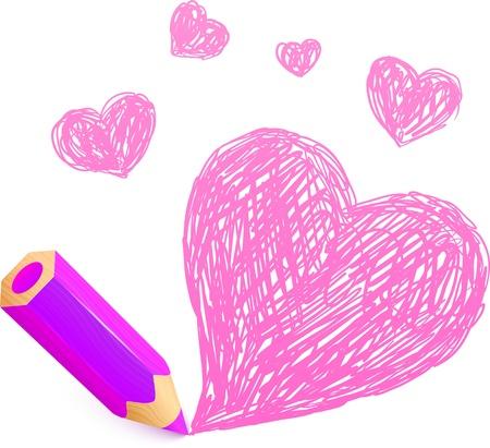 crayon drawing: Pink cartoon pencil with doodle heart