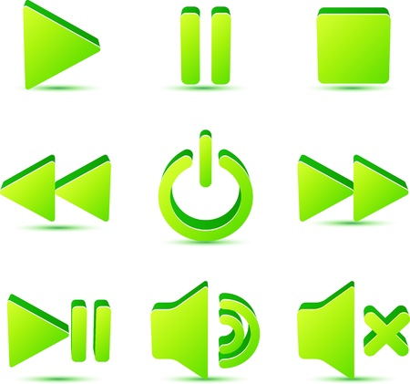 pause button: Green vector plastic navigation symbols set