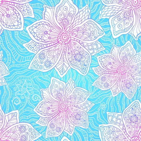 Blue and pink colors ornate flowers vector Stock Vector - 19976362
