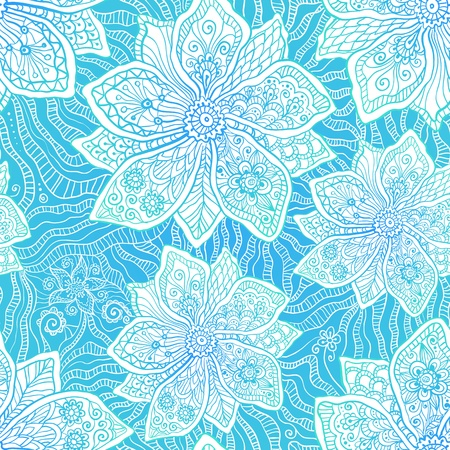 Blue and white ornate vector flowers pattern Stock Vector - 19976368