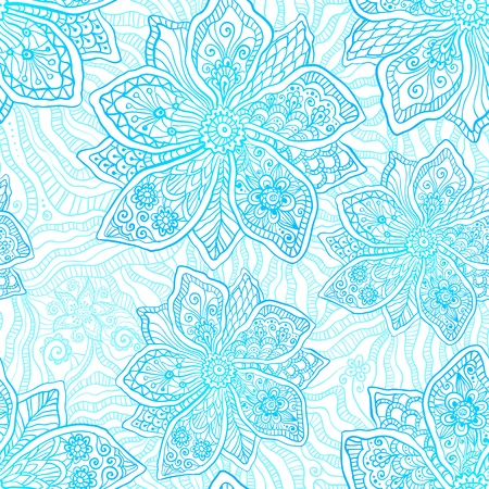 Blue and white ornate vector flowers pattern Stock Vector - 19976356