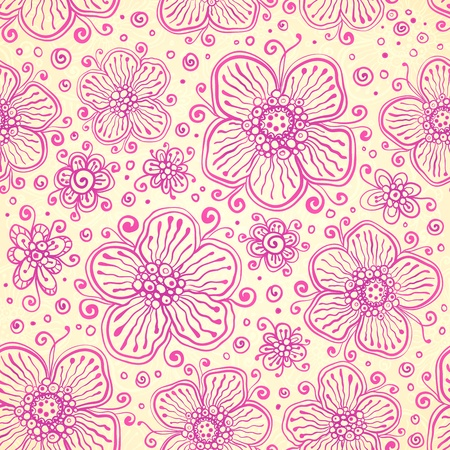 Pink colors flourish seamless pattern Vector
