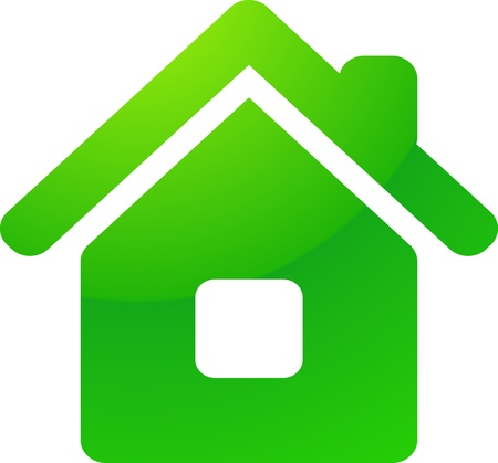 home button: Green eco house vector icon
