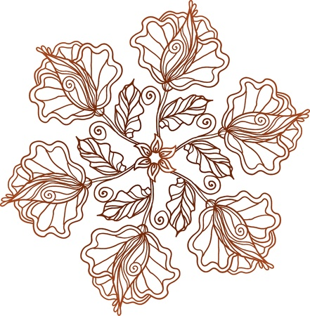 Ornate vintage isolated doodle vector flowers Vector