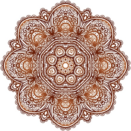 Ornate ethnic henna colors vector mandala in indian style
