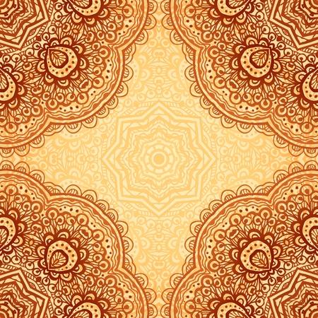 этнический: Изысканная этнической хны цвета фона вектор в индийском стиле Иллюстрация