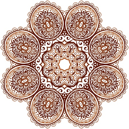 Ornate ethnic henna colors vector mandala in indian style Stock Vector - 19976519