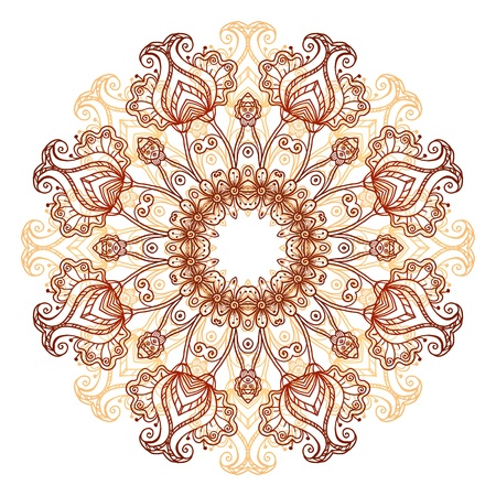 Ornate flowers henna colors vector mandala in indian style Vector