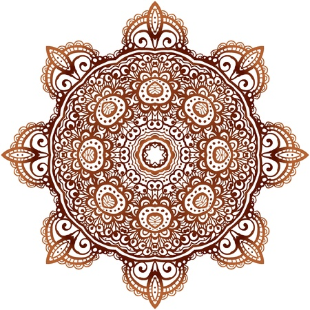 mandala vector: Ornate ethnic henna colors vector mandala in indian style