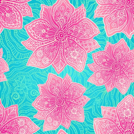 Ornate violet flowers on lacy blue background Stock Vector - 20141816