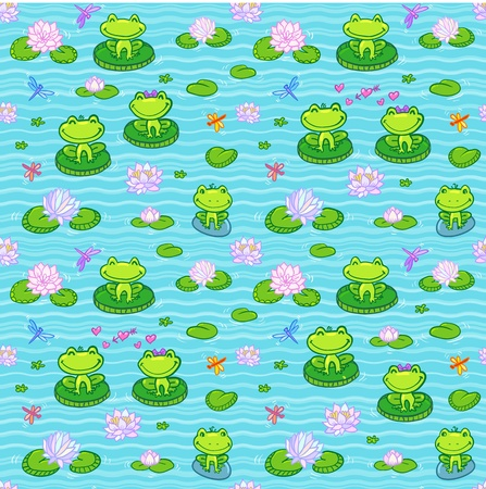 mini: Little green frogs in cartoon style