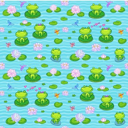 dragonfly art: Little green frogs in cartoon style