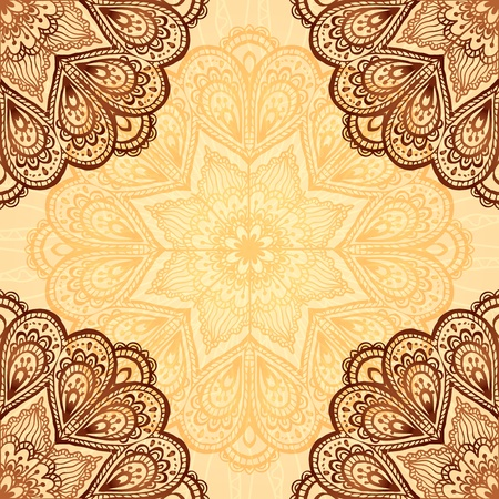 indian ink: Ornate napkin vector background in henna colors