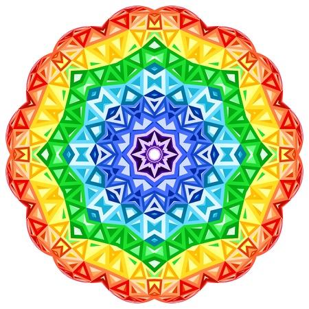 Rainbow kaleidoscope vector vibrant circle Vector
