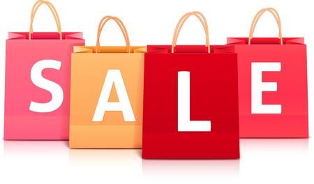 wet floor sign: Sale vector shopping bag set