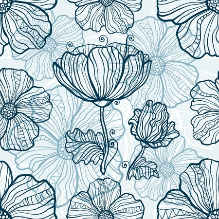 monochromatic: Monochromatic poppy flowers seamless pattern