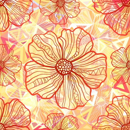 Ornate orange flowers on abstract triangles