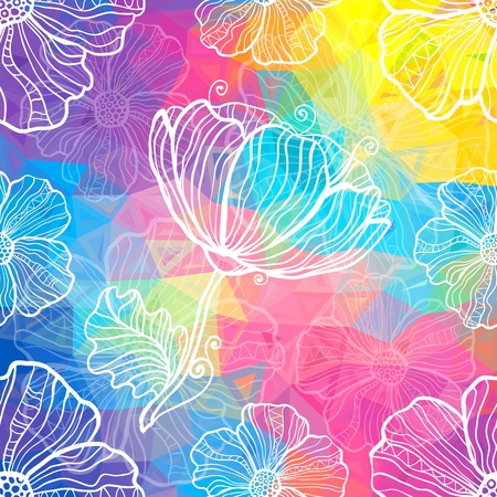 Rainbow triangles with white doodle flowers Stock Photo - 20185236