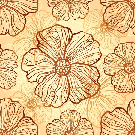 Ornate vector poppies seamless pattern