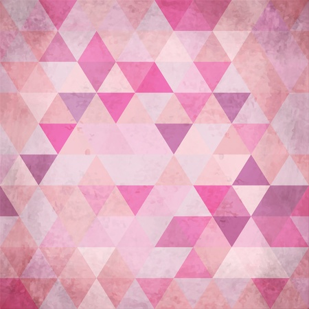 Textured vintage pink vector triangles background Vector