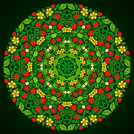 russian culture: Ornate strawberries round vector pattern in traditional russian style hohloma