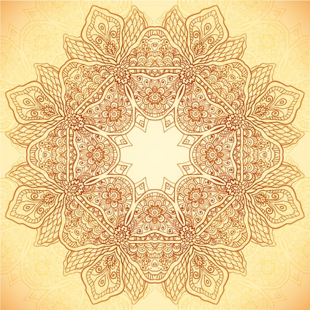 Ornate vintage vector flower napkin background in mehndi indian style Vector