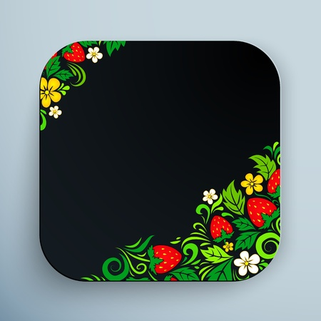 hohloma: Black rounded square icon with traditional Russian ornament hohloma Illustration