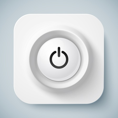 White rounded square icon with power button