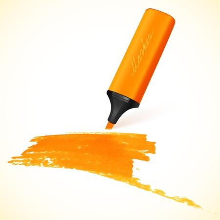 marker pen: Orange vector marker with drawn spot