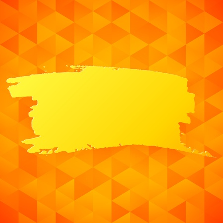 Vector orange triangles backdrop with yellow splash background for your text Vector