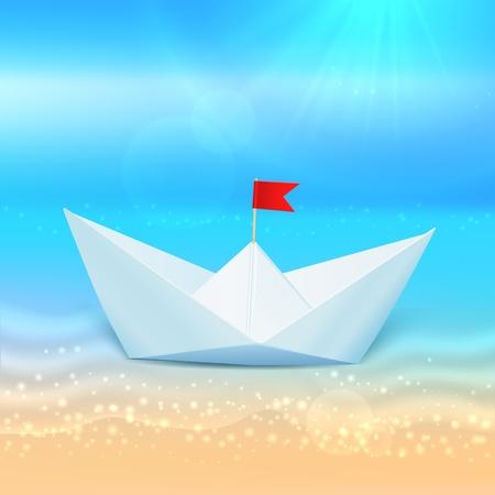 sea horizon: Little vector paper boat in a blue sea, summer concept