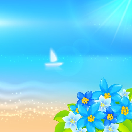 Vector summer background with boat in the sea and bright red flowers Vector