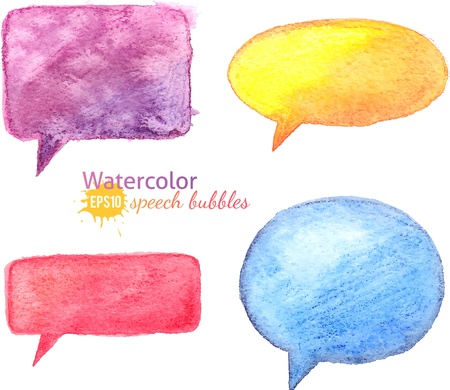 Vector bright watercolor speech bubbles