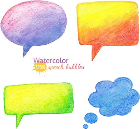 Vector bright watercolor pencils speech bubbles Vector