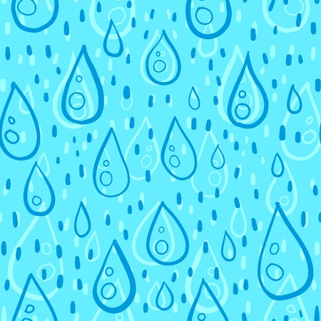 Blue water drops rainy vector seamless pattern Vector
