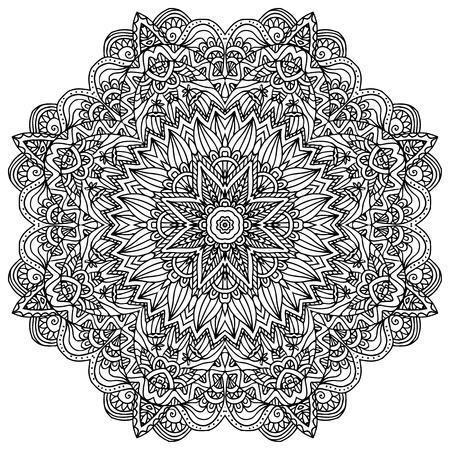 曼陀羅: 白い背景に黒いレースの華やかなベクトル ナプキン