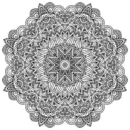 negro: Lacy adornado vector servilleta de negro sobre fondo blanco Vectores