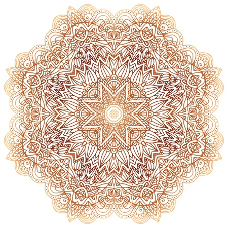 Ornate vintage beige vector doodle circle pattern Vector