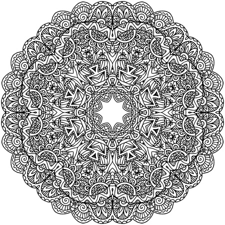 white napkin: Lacy ornate vector black napkin on white background Illustration