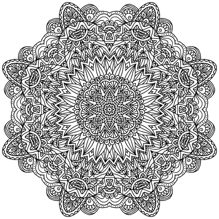 Lacy ornate vector black napkin on white background Vector