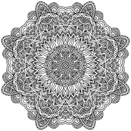 Lacy ornate vector black napkin on white background Stock Vector - 20723108