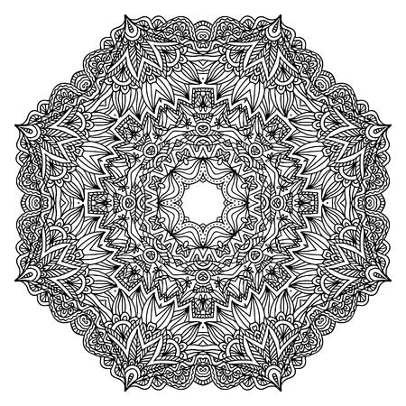Lacy ornate vector black napkin on white background Vector