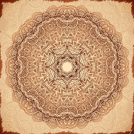 Ornate vintage vector napkin background in Indian mehndi style Vector