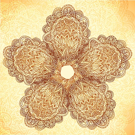 Vintage beige background with ornate doodle flower Vector